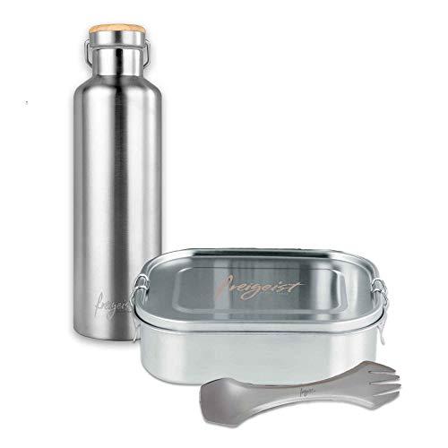 freigeist ESPRIT LIBRE Brotzeit Set mit Edelstahl Thermosflasche 750ml, Edelstahl Lunchbox & Titan Spork | Top Geschenkidee | Survival Ausrüstung bruchfest, auslaufsicher & BPA-frei