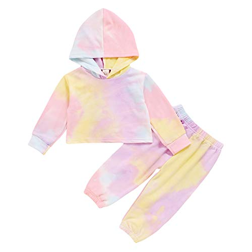 Carolilly - Conjunto de pantalón y camiseta de manga larga para bebé (1-6 años) rosa 12-24 meses