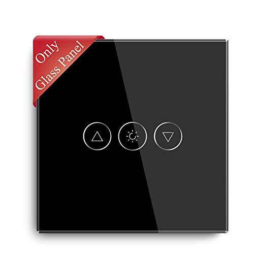 BSEED Interruptor de luz de atenuación inteligente, interruptor táctil, Panel de vidrio, Panel de vidrio para interruptor de atenuación Wifi,1 Gang Negro, 86 mm