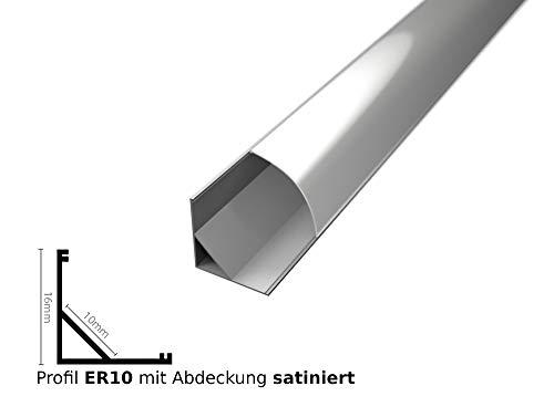 Tivendis LED Profil für LED Stripe 2m   Eckprofil Rund Aluminiumprofil   ER10 mit Abdeckung satiniert