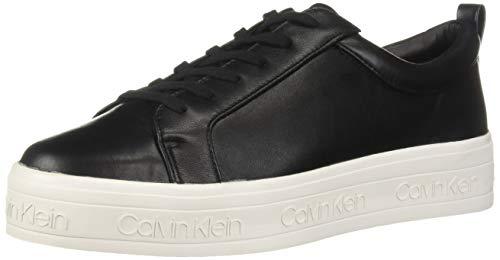 Calvin Klein Mujeres Deportivos de Moda, Black Leather, Talla 8