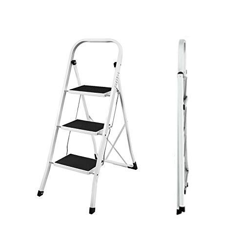 Trittleiter 3 Stufen Klappbar Stehleiter Kompakte Robuste Hochwertige Stahlstufen mit Rutschfesten Matten für zu Hause/Büro/Küche