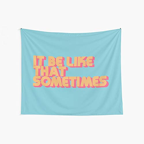 Noick It Be Like That Sometimes Retro Blue 3D Boutique Wall Tapestry Pop Art Retro Micro Microfiber Peach Peach Home Decoration 59.1X51.2 in