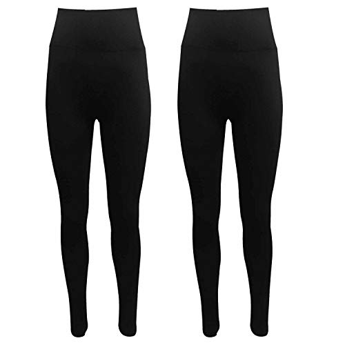 FirmControl Tummy Control Pack of 2 Leggings Womens Plus Size 8 10 12 14 16 18 20 22 24 26 28 (3XL, Black)