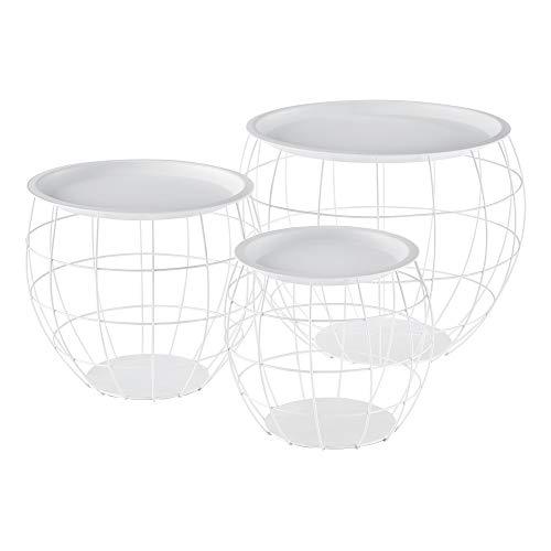 Set de 3X Cestas de Metal con bandejas extraíbles Mesa Baja Mesa Auxiliar para Almacenar Mesas de té y café Mesas de Centro Blanco