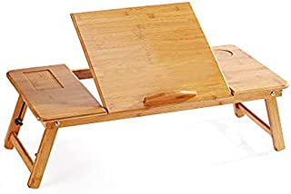 Simple Laptop Desk with Cooling Fan Folding Table Portable Reading Computer Desk Study Table Bedsid Small Drawere Table (C...