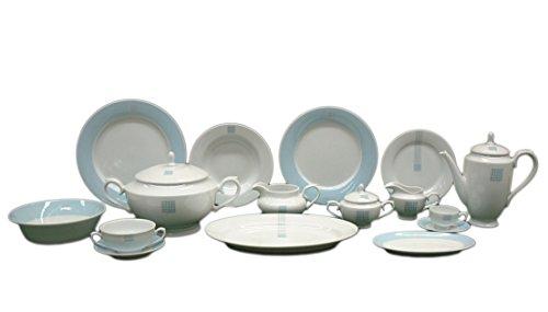 FranquiHOgar Vajilla Vintage Porcelana 83 Platos 24 Llanos, 12 hondos y 12 de Postre, Juego de café 27, Fuentes | Blanco y Azul Aqua