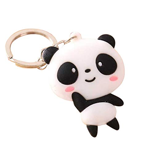 F-blue Bande dessinée Mignonne Panda Keychain Porte Sac Pendentif Animaux Silicone Panda Sac à Main chaîne Porte-clés