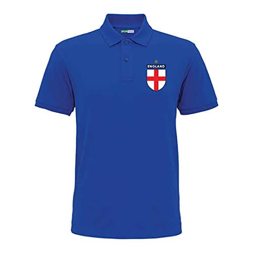 Sportees Retro Kids Personalised Polo Royal Blue England Style Away Football Kit With FREE Socks & Bag Youth Football England Boys Or Girls Football Jersey Child Football Kit - 9/11 Years