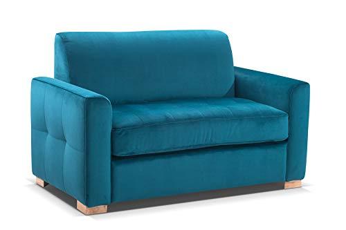 Canapé fixe 2 places Bleu Velours Scandinave Confort