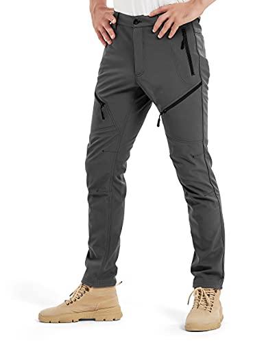 KUTOOK Pantalones Trekking Hombre Invierno Pantalones Soft Shell Hidrófuga Cálidos y A Prueba De Viento con Forro Polar para Senderismo Escalada Montaña(Gris,M)