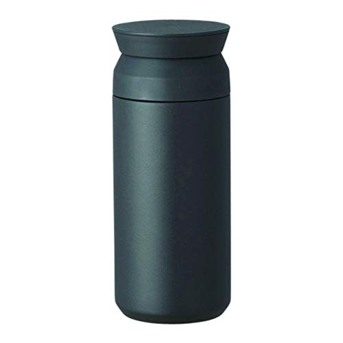 Kinto Reisebecher 350 ml/500 ml, Wasserflasche, vakuumisolierte Thermosflasche, Sportflasche, edelstahl, Schwarz , 350ml
