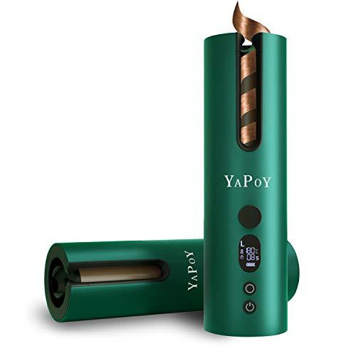 YAPOY Automatico Ferro Arricciacapelli Toolyuan Piastra Arricciacapelli Automatico Rotante 360° con Batteria Ricaricabile da 5200 mAh Schermo LCD (Verde)