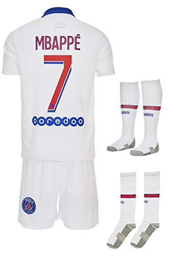 Paris #7 Mbappe-Neymar 2019-2020 Auswärts Kinder Fußball Trikot Hose und Socken Kindergrößen (128-5/6 Jahre, Mbappe)
