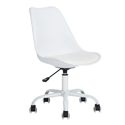 Queen Anne Casa Office Executive Task Chair, PU middenrug ergonomisch, verstelbaar ontwerp draaibaar, computercomputer bureaustoel, thuiswerk, wit