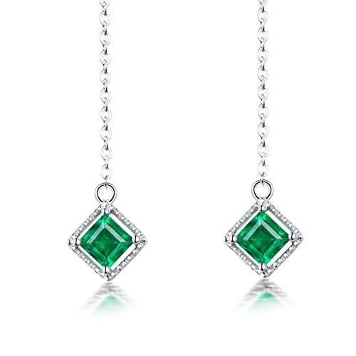 ANAZOZ Silver Green Wedding Earring for Women,Earrings 18K White Gold Long 1.02ct Asscher Emerald
