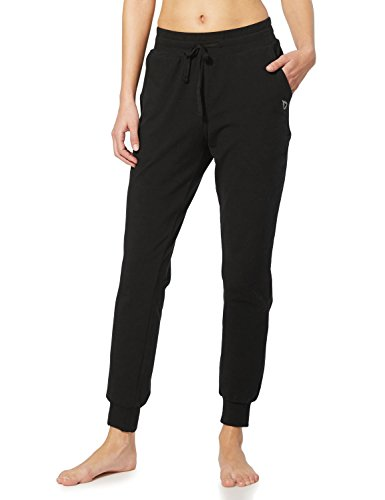 BALEAF Women's Cotton Sweatpants Lightweight Joggers Pants Tapered Active Yoga Lounge Casual Pants with Pockets Black Size L