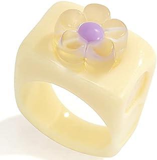 YHomU Women Ring Resin Chunky Wide Fashion Flower Stackable Ring Retro Ring Resin Ring for Women