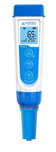 Apera Instruments PH60F Premium pH-Meter mit flacher Elektrode (Genauigkeit pH ±0,01, Messbereich pH -2,0-14,0, austauschbare Elektrode, wasserfest, Temperaturanzeige)