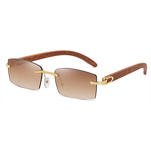 SHEEN KELLY Retro Rechteck Sonnenbrille Für Männer Frauen Ultra-Bambus Frame Sonnenbrille Randlose Holzrahmen Sonnenbrille