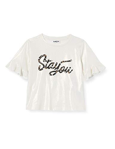 MEK T-Shirt M-3/4 Lurex Camiseta de Tirantes, Blanco (Off White 01 900),...