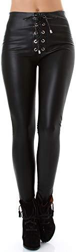 Jela London Damen Schwarze Kunst-Leder Hose Wetlook Leggings Treggings Schnürung High-Waist Hoher Bund Clubwear, 34 36 (S)