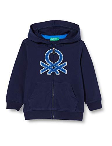 United Colors of Benetton Baby-Jungen Felpa Zip Strickjacke, Blau (Peacoat 252), 86/92 (Herstellergröße: 2y)