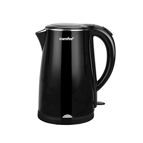 COMFEE' 1.7L Double Wall & Low Noise Electric Kettle with 100% Stainless Steel Inner Pot and Lid. Cool Touch & BPA Free. 1500W Fast Boil. Cordless with Auto Shut-Off & Boil Dry Protection. Black (Renewed)