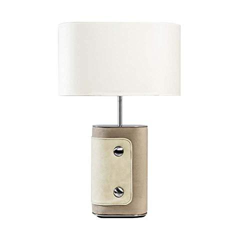 TYXL Lámpara de mesa Después diseñado estadounidense minimalista creativo moderno Artes Luz de lujo del cuero lámpara de escritorio Modelo Salón dormitorio Mesita de luz de la lámpara 38 * 64cm