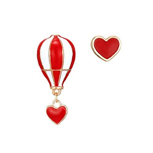 Odoukey Joyería asimétrica Amor Globos de Aire Caliente Pendientes Irregulares del Perno Prisionero de los Pendientes de Gota Pendientes para Las Mujeres niñas 1Pair
