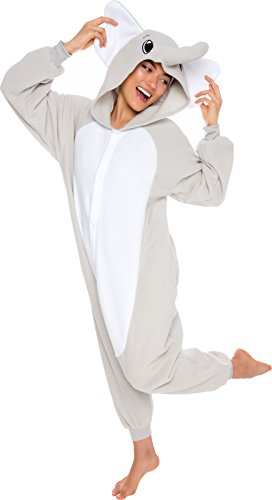Silver Lilly Adult Elephant Animal One Piece Unisex Pajamas - Plush Cosplay Elephant Costume (M)