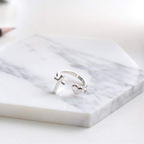 letaowl anillo abierto para las mujeres 925 plata esterlina corazón Cruz temperamento personalidad Corea moda salvaje dulce femenino resizable apertura anillos
