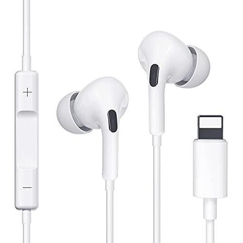 Kopfhörer mit Kabel für iPhone,In Ear Kopfhörer mit Mikrofon,HiFi-Audio Stereo Kopfhörer mit integriertem Mikrofon und Lautstärkeregler,Kompatibel mit iPhone 12/11/XS/X/XR/8/7 und unterstützt alle iOS