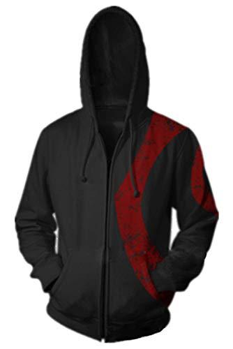 Mesodyn Unisex Printed Kratos Jacket Adult Zipper Hoodie Halloween Cosplay Costume,Black,Mediun