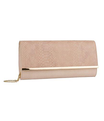 SIX Clutch: Edle Handtasche mit vergolderter Kette, Überschlag in Schlangenleder-Optik, auch als Umhängetasche, für feierliche Anlässe, rosa (463-703)