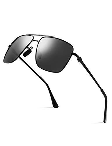 CNLO Men's Polarized Sunglasses Ultra Lightweight Rectangular UV400 Protection Sunglasses For Men Small Head(Black Frame Gray Lens)