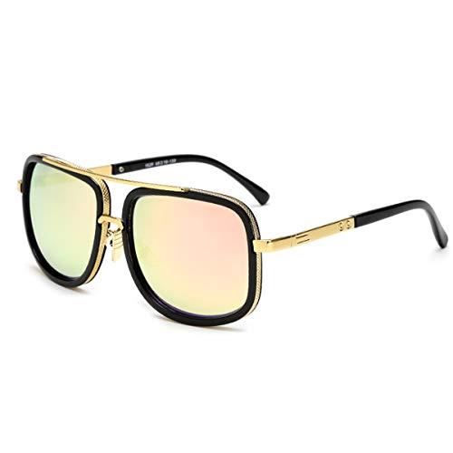 Hengtaichang Sunglasses Square Pilot Sunglasses Men Driving NEW Male Luxury Brand Sun Glasses For Men Metal Designer Cool Shades MIRROR Retro JY1828 C5 Pink