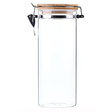 AUYE Glass Storage Jar,Coffee Bean & Kitchen food Container With Clamp Airtight wood Lid (55-Ounce)