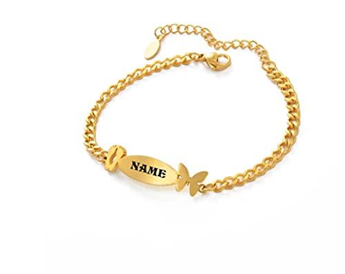 Nombre Personalizado Tobillera niños bebé niño niño Color Oro Cadena de Mano joyería de Mariposa YUAHJIGE