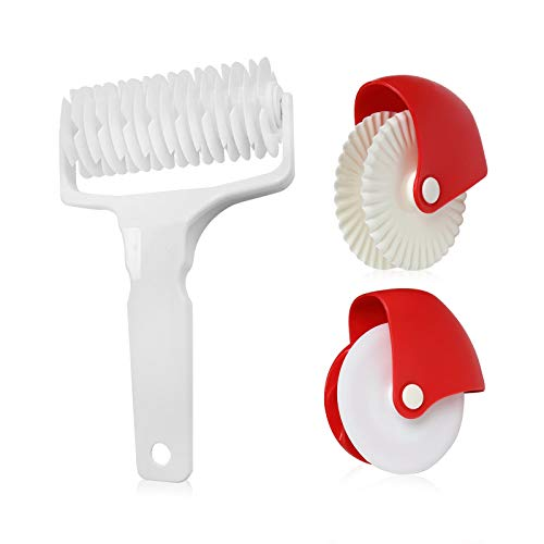 Gwotfy Pastry Wheel Cutter, 2Pcs Pastry Lattice Roller Cutter, Plastic Wheel Roller Kitchen Baking Tool for Beautiful Pie Crust or Ravioli Pasta Pizza Pastry