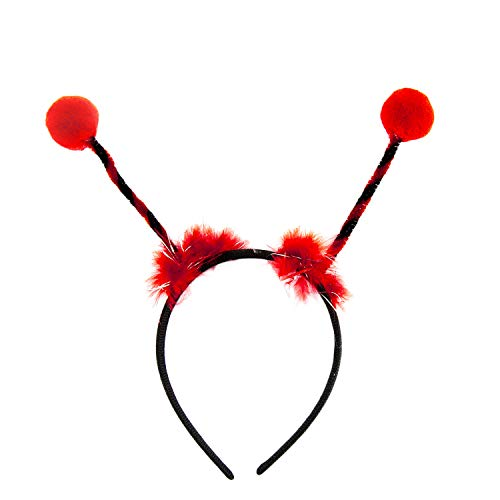 Oblique Unique® Haarreif Marienkäfer mit Bommeln Haarreifen Kostüm Accessoire für Karneval Fasching Motto Party Schwarz Rot