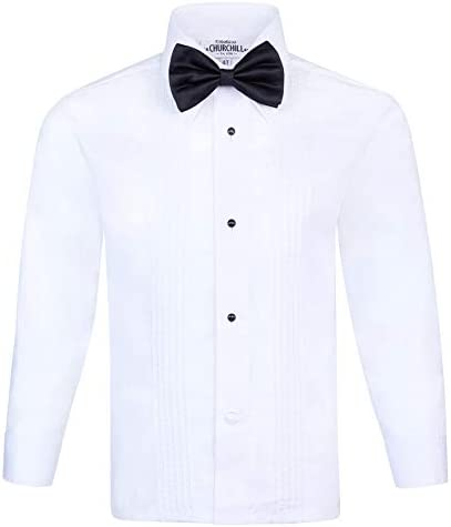 S H Churchill Co Boy s White Tuxedo Shirt with Bow Tie and Studs 8 product image