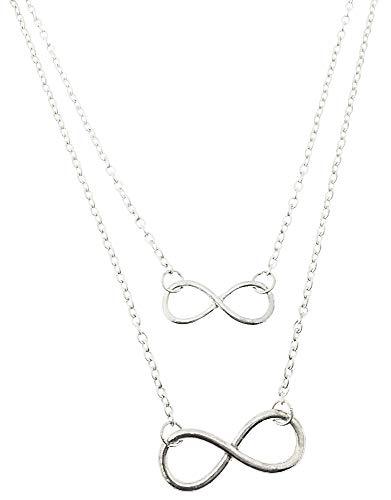 Infinity ketting - multidraad - vrouwelijk - vrouw - twee draden - meerlagig - origineel cadeau-idee - valentijnsdag - zilver - kerstmis - origineel cadeau-idee - sieraden - verjaardag