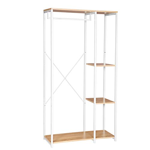 Metal Clothes Rail,Heavy Duty Wardrobe Organizer,Clothes Closet with 4 Tiers Shoe Rack, White Coat Rack Stand Oak Wood Storage Shelves