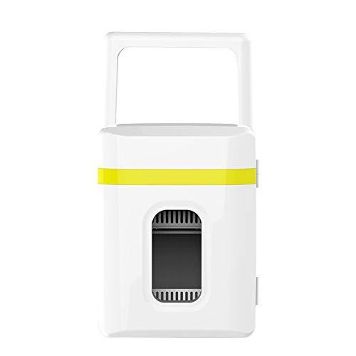 YSXFS Mini Frigorífico, Mini Refrigerador De 10 litros, Pequeño Refrigerador Congelador/DC Sistema Termoeléctrico Alimentado Y Calentador para Bebidas Cosméticos Maquillaje Skincare(Color:Amarillo)