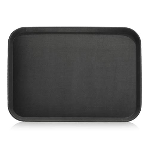 New Star Foodservice 25279 Restaurant Grade Non-Slip Tray, Plastic, Rubber Lined, Rectangular, 16' x 22' Inch, Black