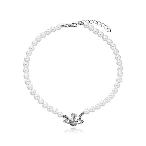 Miweel Collier de Perles Blanches en Cristal et Strass avec planète Saturne pour Meilleure Amie, Petite Amie, Anniversaire