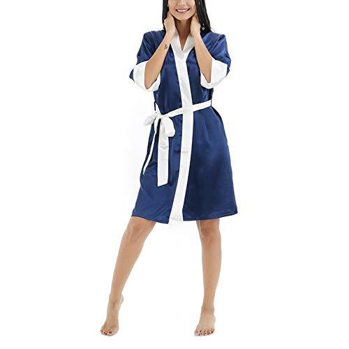 Crystallly Fy Dames paar Kimono Robe Cardigan badjassen ochtendjassen zijderobe contrasterende kleur eenvoudige stijl imitatie zijde dressing gown tunieken nachtkleding sauna spa bruiloft party geschenk