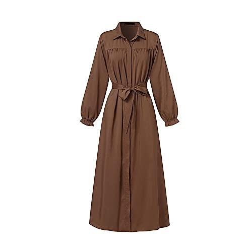 Ykstzqdl Vestido de estilo moderno para mujer, estilo vintage, de Dubai Abaya turco, vestido de manga larga musulmán para verano (color : café, tamaño: XXL)