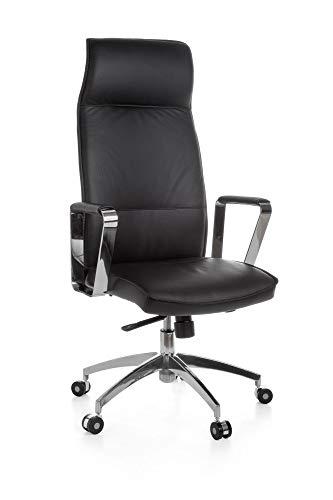 FineBuy Bürostuhl OLGA Chefsessel Schreibtischstuhl Drehstuhl Bürosessel Echtleder